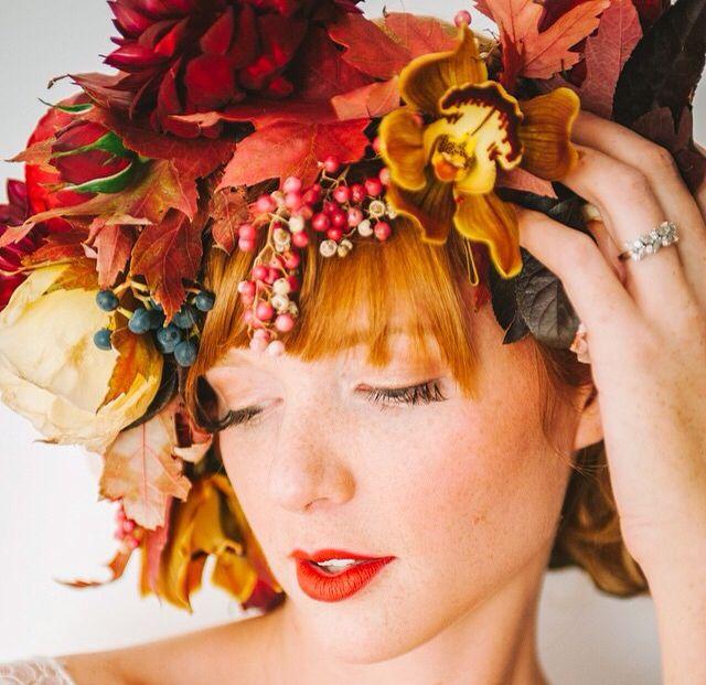 Fall Wedding Hairstyles With Flower Crown: Fall Flower Crown, Bridal Hair