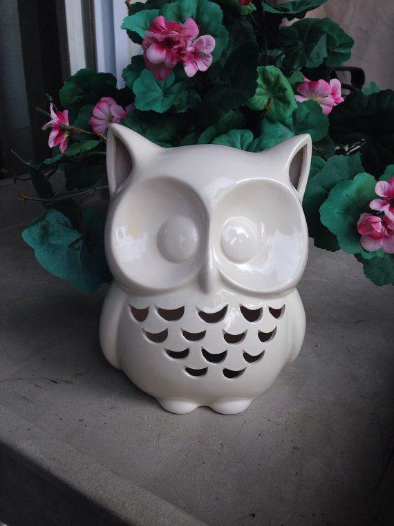 White Ceramic Owl Teacher S Gift Baby S Room Home Decor Ceramic Owl Owl Teacher Gifts Ceramics