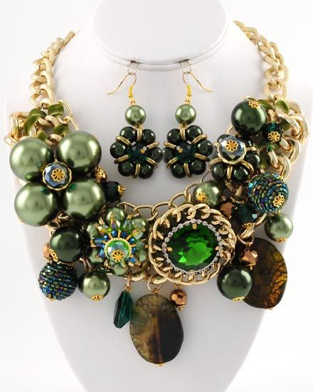 "Gold Tone / Green-brown Semi-precious Stone,glass & Synthetic Pearl / Lead Compliant / Charm Necklace & Fish Hook Earring Set  •   Style No : 308865  •   Length : 17"" + EXT  •   Earring : 2 1/2"" L  •   Drop : 3 1/2"" L  $65.00"