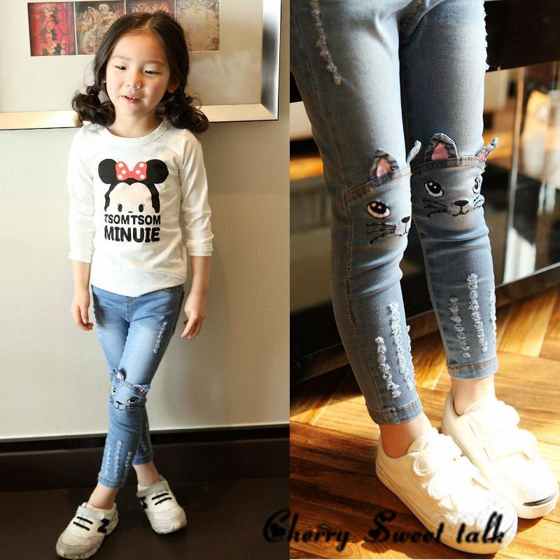 8eba03ec19874 Girl jeans, spring and autumn kids clothing casual jeans pants ...