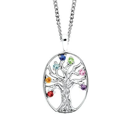 Personalized Birthstone Family Tree Pendant In 14k Gold 3