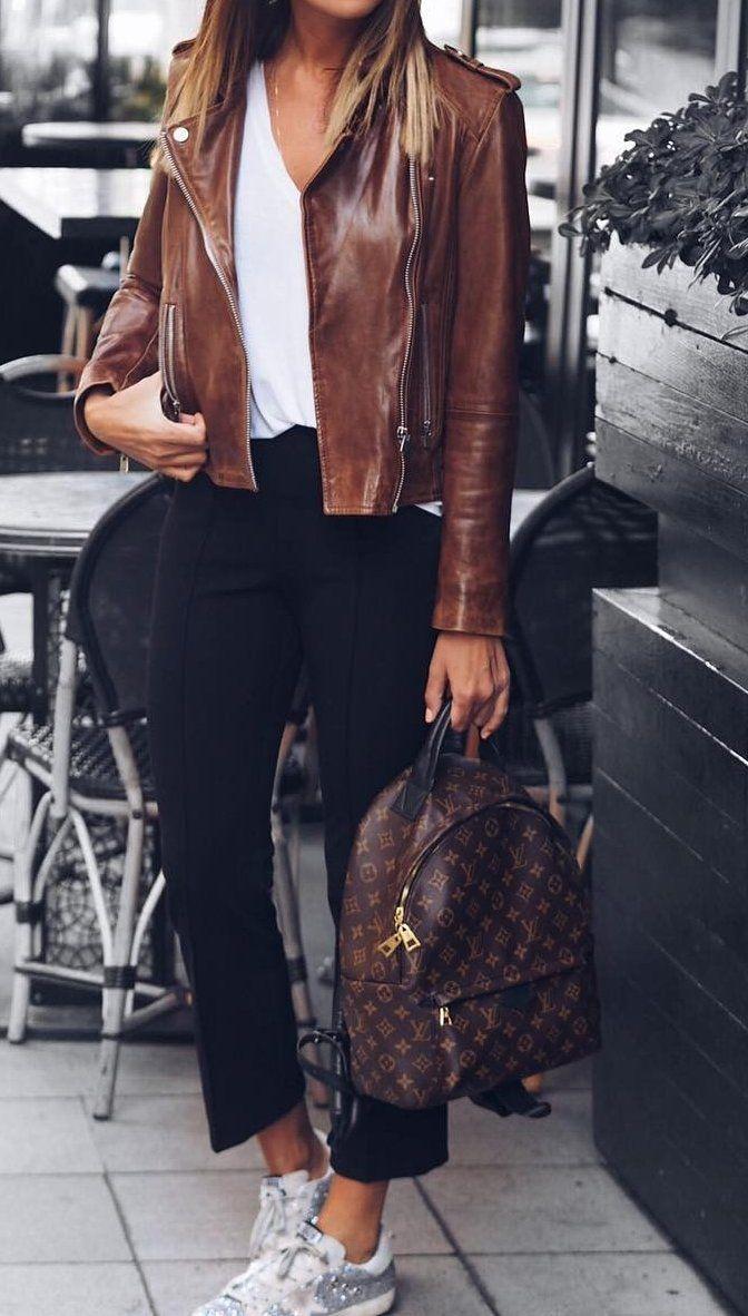 fall  fashion · Brown Leather Jacket + Cropped Black Pants + White Sneaker a7afb08e591e1