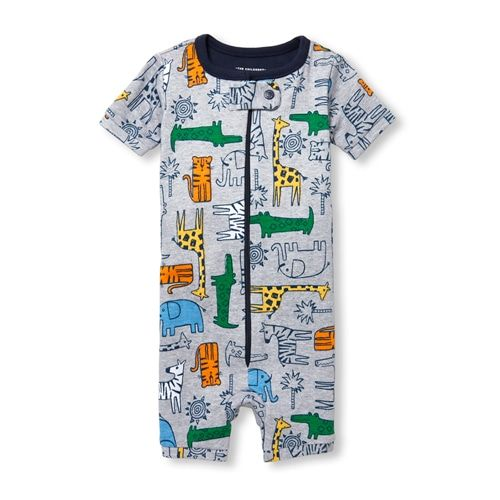 2f72a5b5b Baby And Toddler Boys Short Sleeve Jungle Print Cropped Snug Fit Stretchie