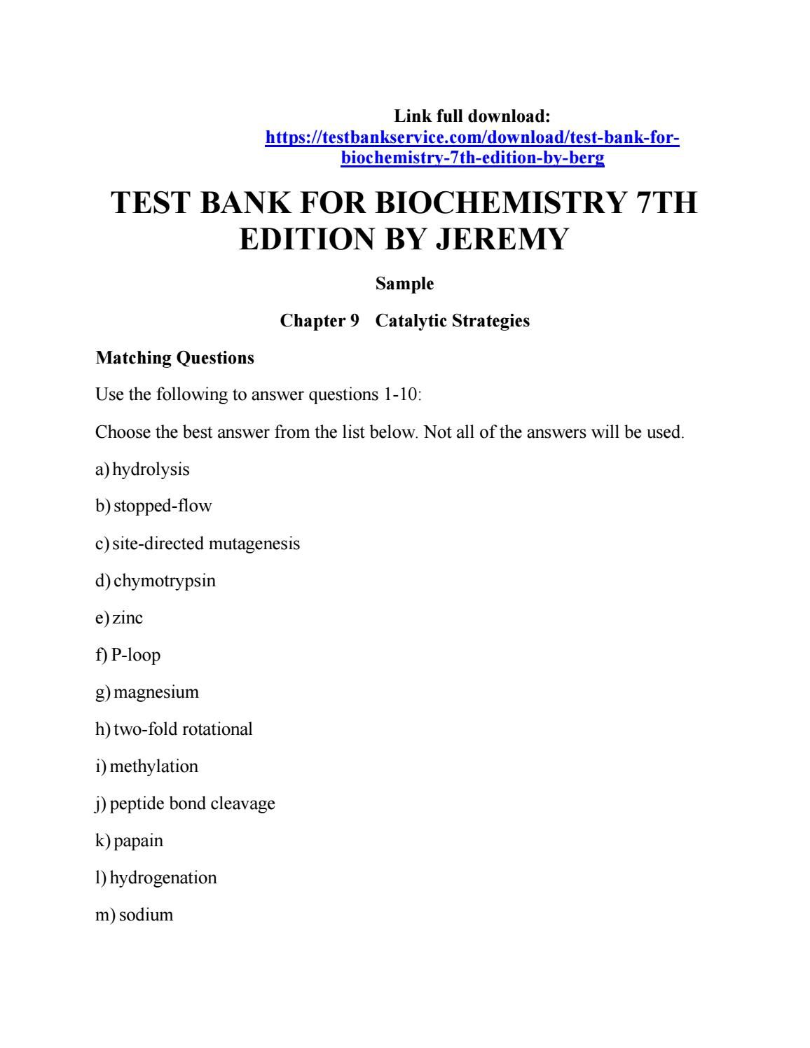 Test bank for biochemistry 7th edition by berg