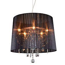 kronleuchter ann kathrin 5 chrom mit schwarzem schirm stilvolle kombination aus chrom. Black Bedroom Furniture Sets. Home Design Ideas