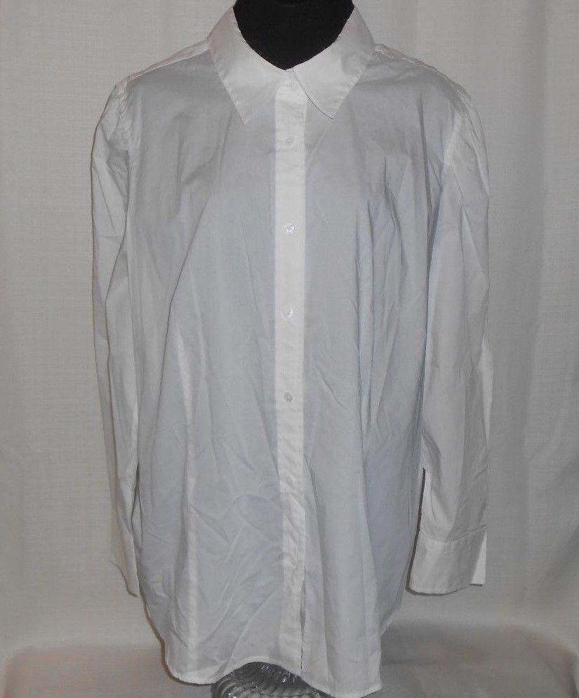 TALBOTS Blouse Shirt Top Button Up Career Women Plus Size 20W Long Sleeve White #Talbots #ButtonDownShirt #CareerBlouse