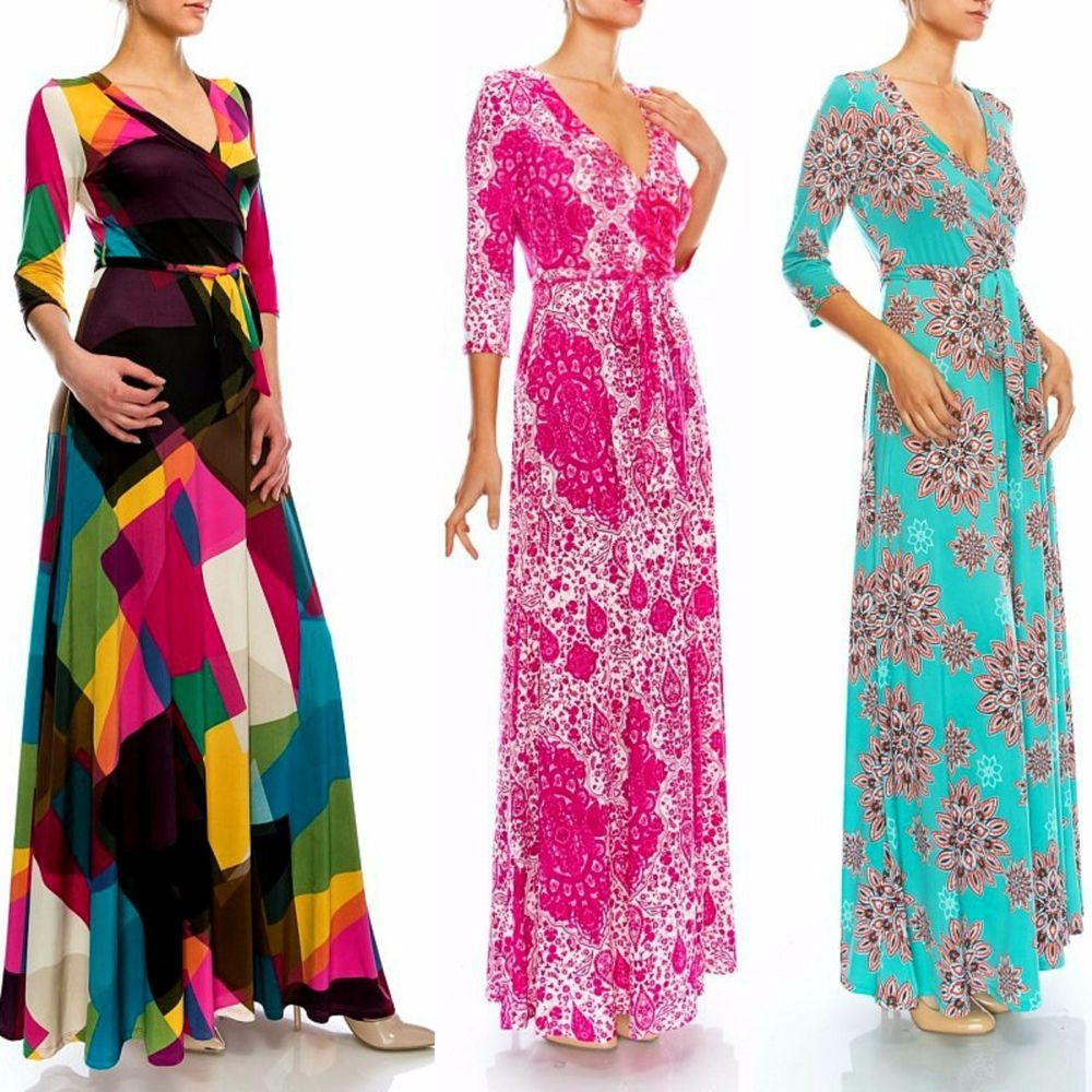 Janette THE FAMOUS LONG SLEEVE MAXI WRAP DRESS 70s NEW PRINTS L.A. ...