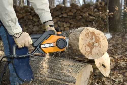 WORX WG303.1 16-Inch Chain Saw, 3.5 HP 14.5 Amp   WORX WG303.1 16-Inch Chain Saw, 3.5 HP 14.5 Amp The WORX 16-Inch 3.5 HP 14.5 Amp chainsaw is a cut above the rest. The WORX exclusive, patented tool-free chain replacement and auto-tensioning system eliminates the headaches faced with most other chain saws. You don't need to be a lumberjack to operate a chainsaw. The auto-tension system includes a single, oversized knob that secures the bar and chain and maintains proper tension durin..