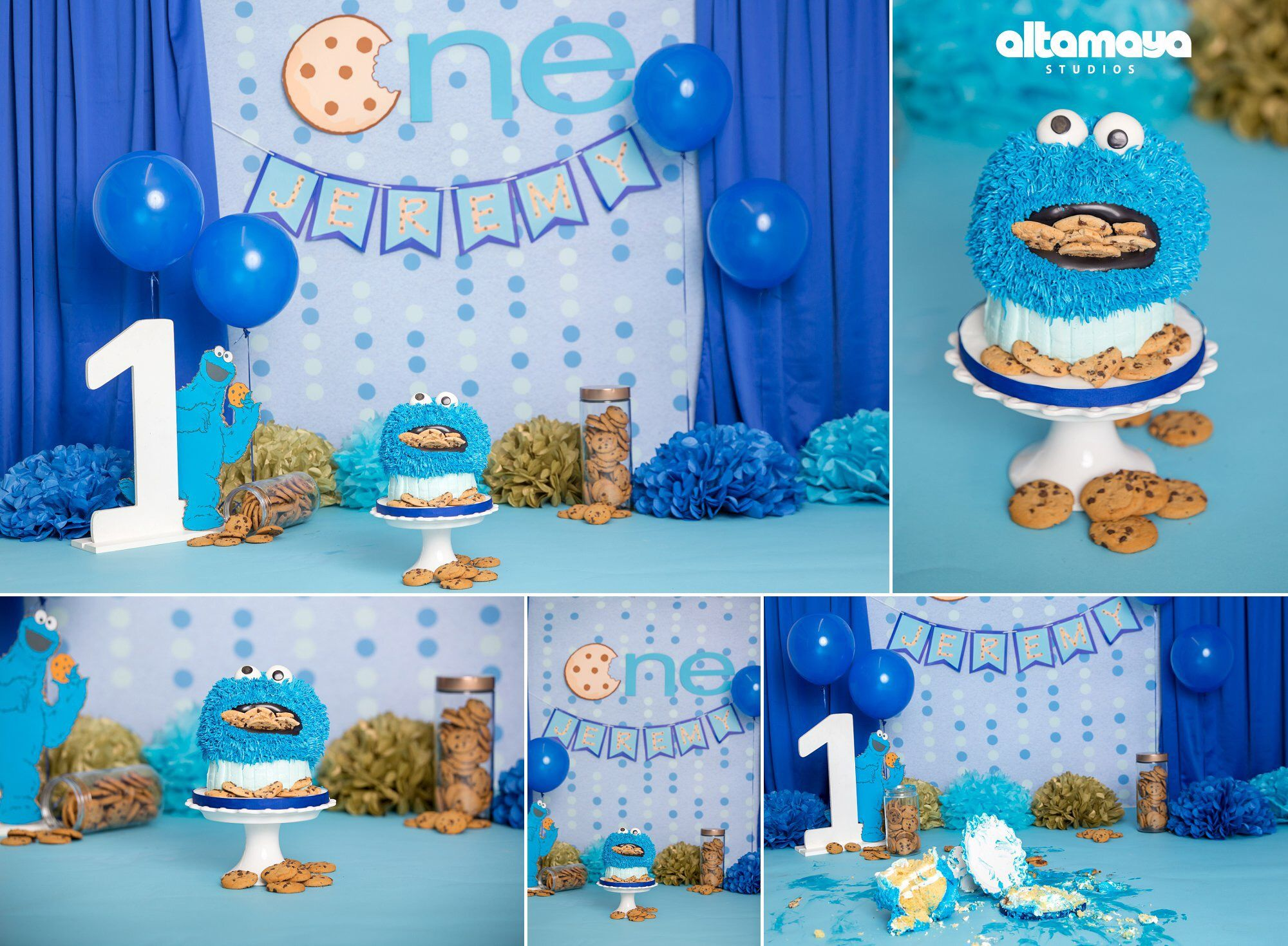 Cookie Monster Smash Cake Cookie Monster First Birthday Decor