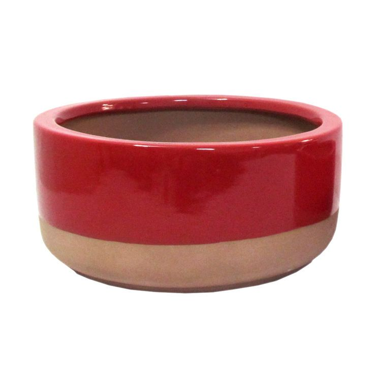 Ceramic Two-Tone Red Bowl- 12-in