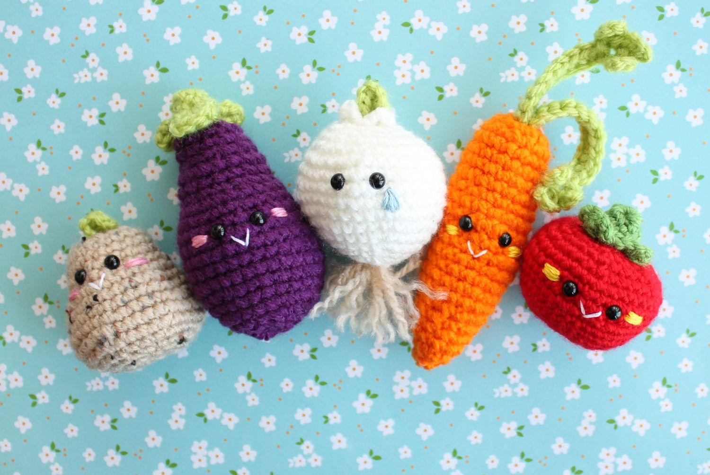 Amigurumi Vegetables : Amigurumi food vegetables set crochet plush ready to ship carrot