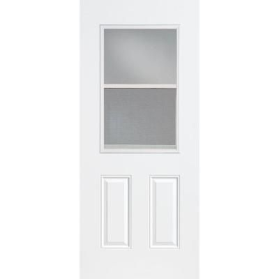 Masonite Premium 1 2 Lite Vent Lite Primed Steel Entry Door With No Brickmold 44966 The Home Depot Steel Doors Exterior Fiberglass Entry Doors Exterior Doors