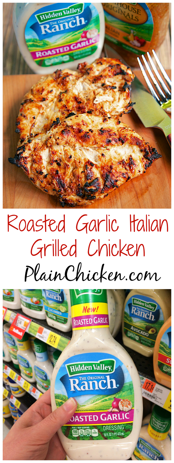 Roasted Garlic Italian Grilled Chicken - only 3 ingredients (including the chicken) - super simple marinade that packs a ton of great flavor! Quick, e...