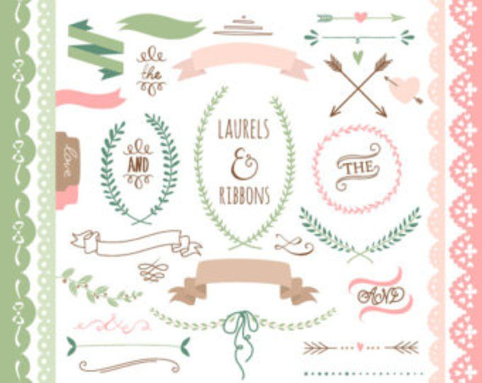 Chalkboard clipart, Laurels, Ribbons, Wreaths, Banners ...