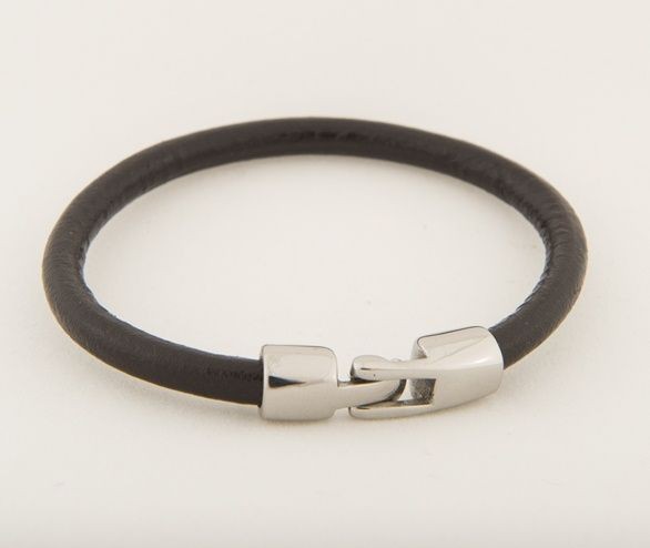"Black Leather Bracelet - Unisex.  This bracelet is made of genuine leather and stainless steel. Clean, modern design.  8"" long. Complimentary jewelry bag included. $32.  http://www.asiabyfrida.com/products/black-leather-bracelet-unisex"