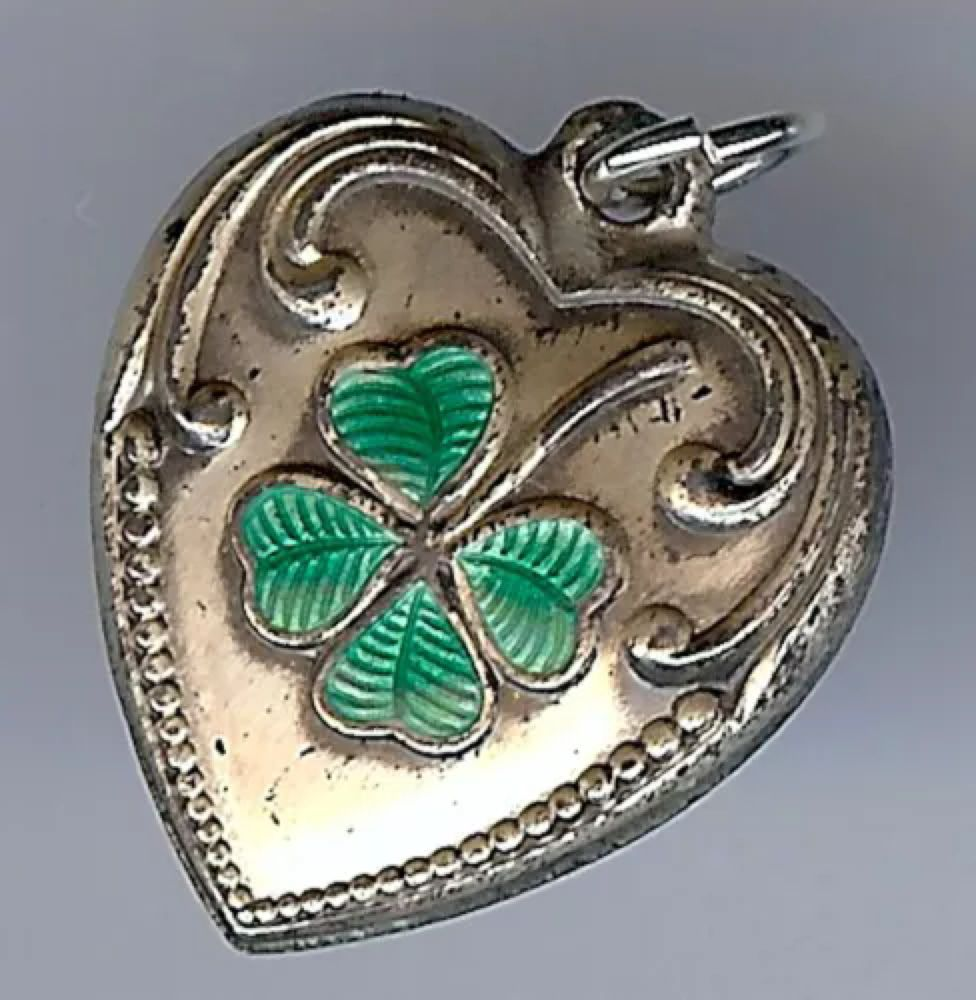 Green lucky shamrock necklace four leaf clover charm emerald green - Vintage Puffy Heart Charm With Green Enamel Lucky Four Leaf Clover