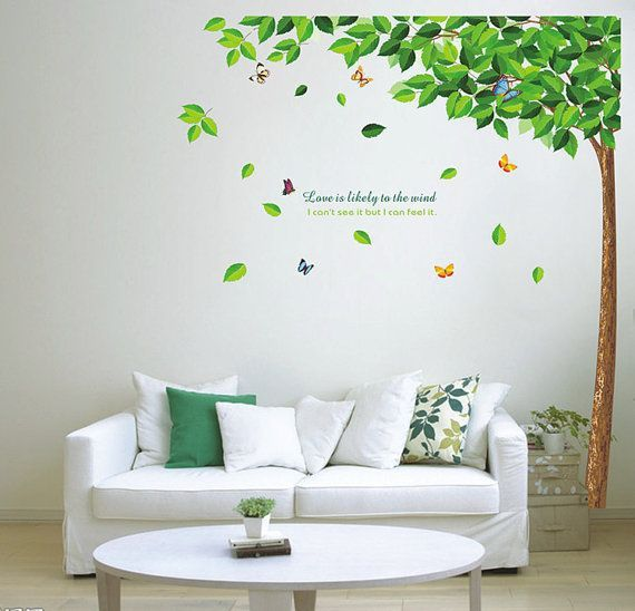 Diy Green Tree Butterfly Removable Vinyl Wall Decal Sticker Art Beautiful Decoration Decor Ideas