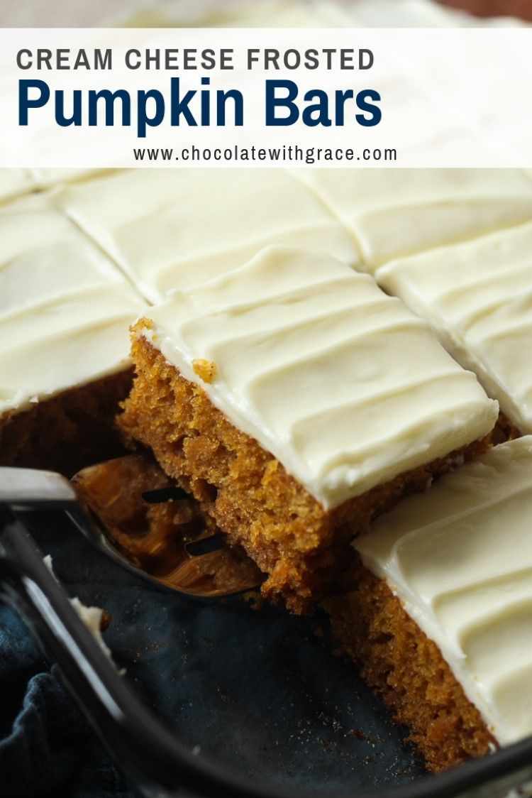 Pumpkin Bars with Cream Cheese Frosting. This easy pumpkin recipe is great for f…