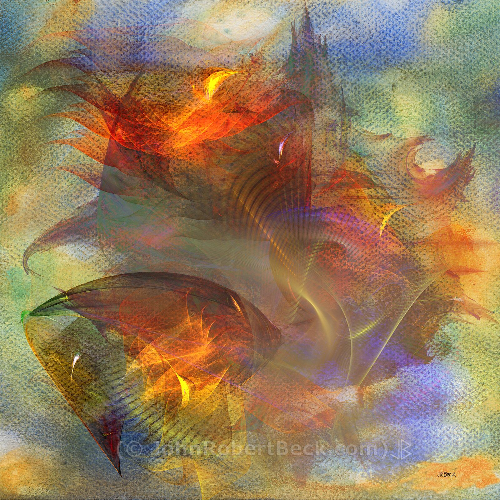 Autumn Ablaze (Square Version) by John Robert Beck. This abstract art was created in 2010. The watercolor background was first made, then digital fractals were added on top of the background.