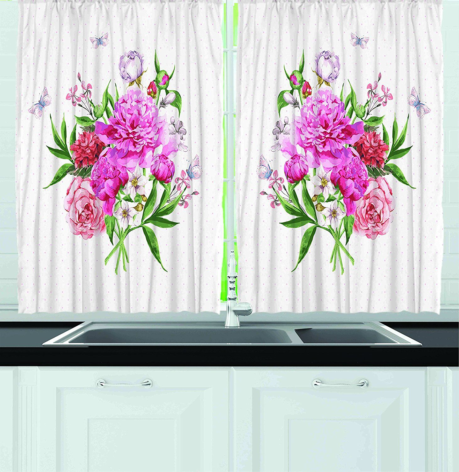 Ambesonne Kitchen Decor Collection Floral Art With Wildflowers
