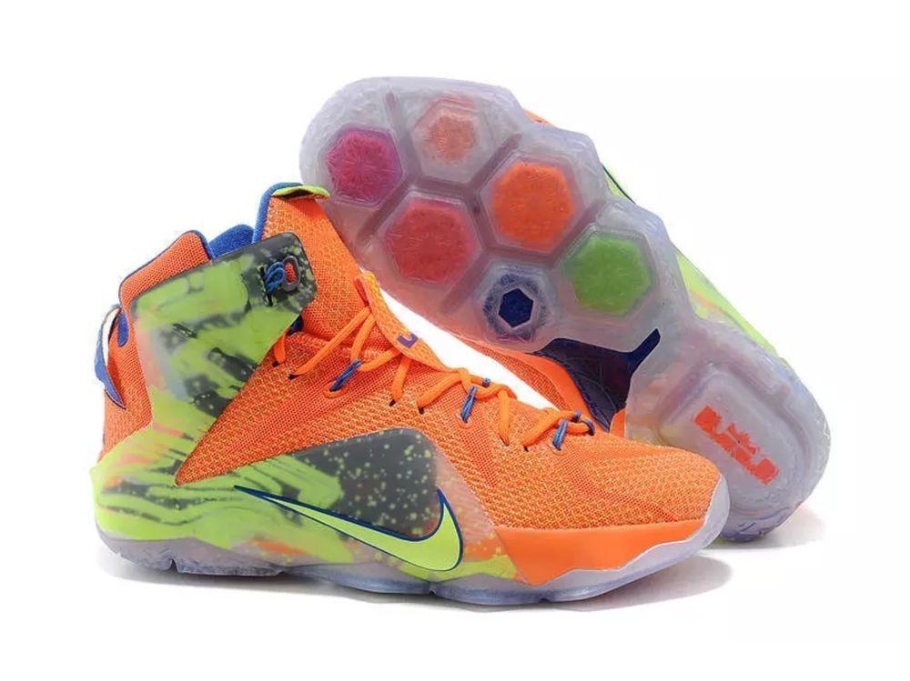 734aa620bac6 Nike LeBron XII Six Meridians Hyper Crimson Volt Metallic 684593-870 Size  10  Nike