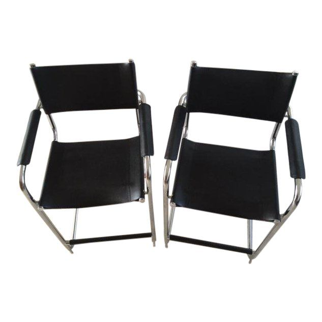 Cool Vintage Mid Century Italian Black Leather Chrome Bar Pabps2019 Chair Design Images Pabps2019Com