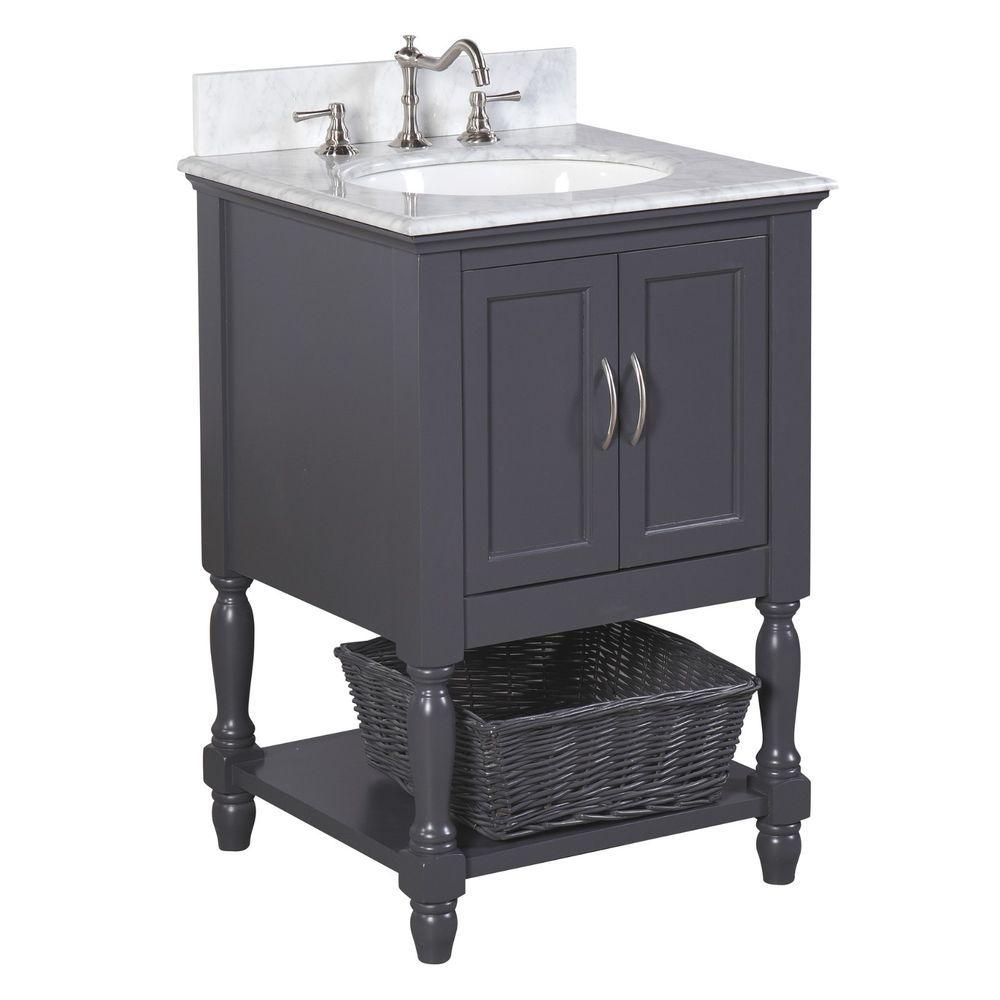 Details About 24 Single Gray Bathroom Vanity Cabinet Ceramic Sink