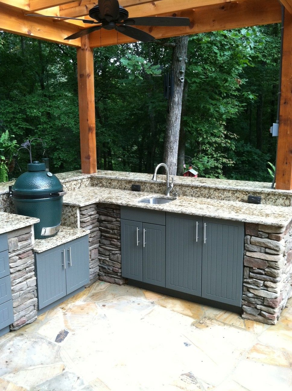 Outdoor Kitchen Bar with Granite and Sink Top plus Big Green Egg ...