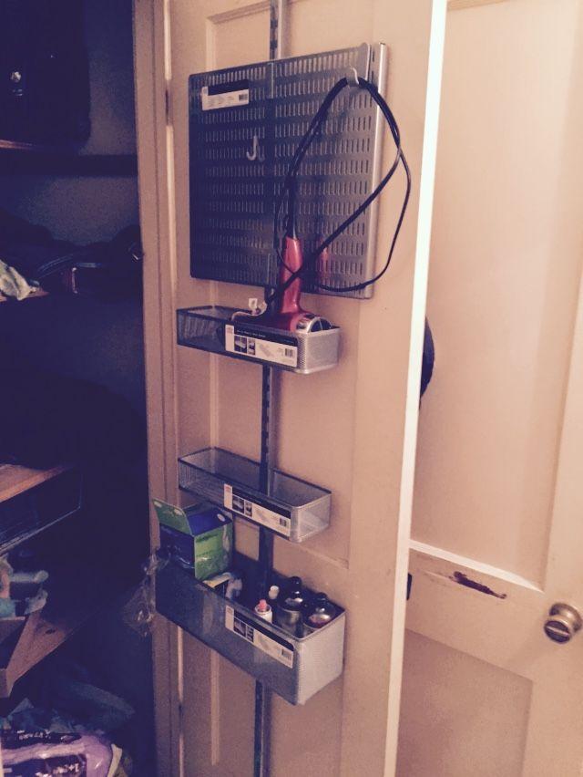 Elfa Utility Attached To Linen Closet Door With Over The Door Hooks