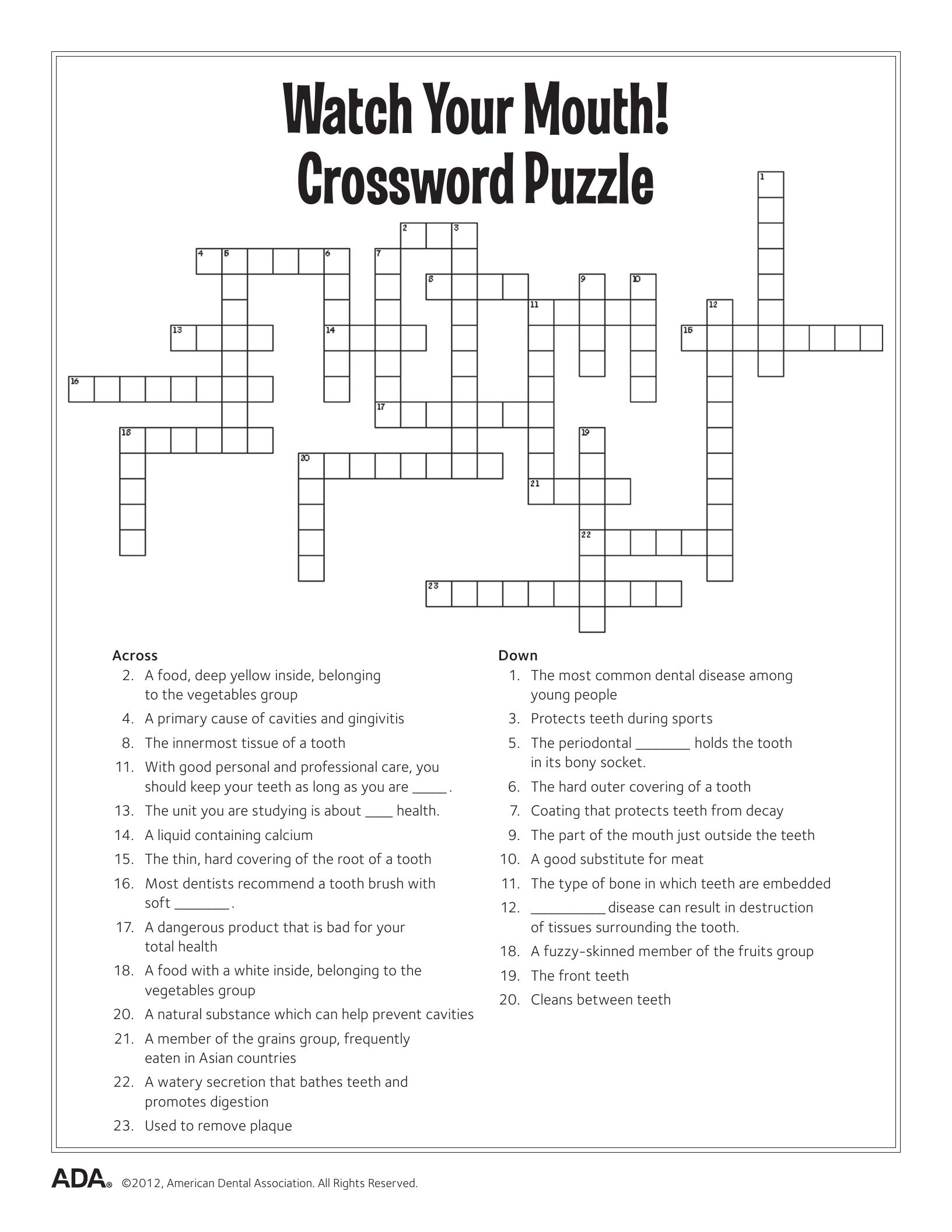 worksheet Worksheet Crossword Puzzles 11 dental health activities puzzle fun printable hygiene printable