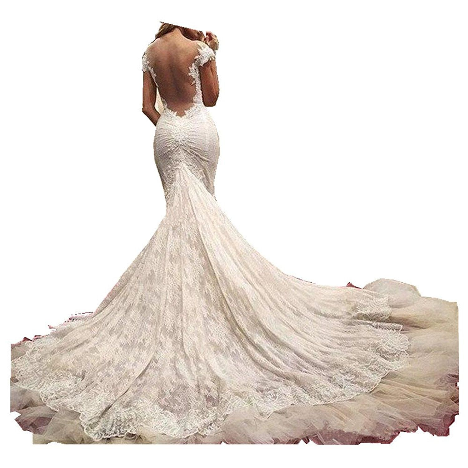 Uryouthstyle Off Shoulder Bridal Gowns Lace Mermaid Chapel