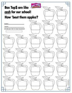 Apples Box Tops Collection Sheet 25ct -- Back to School ...