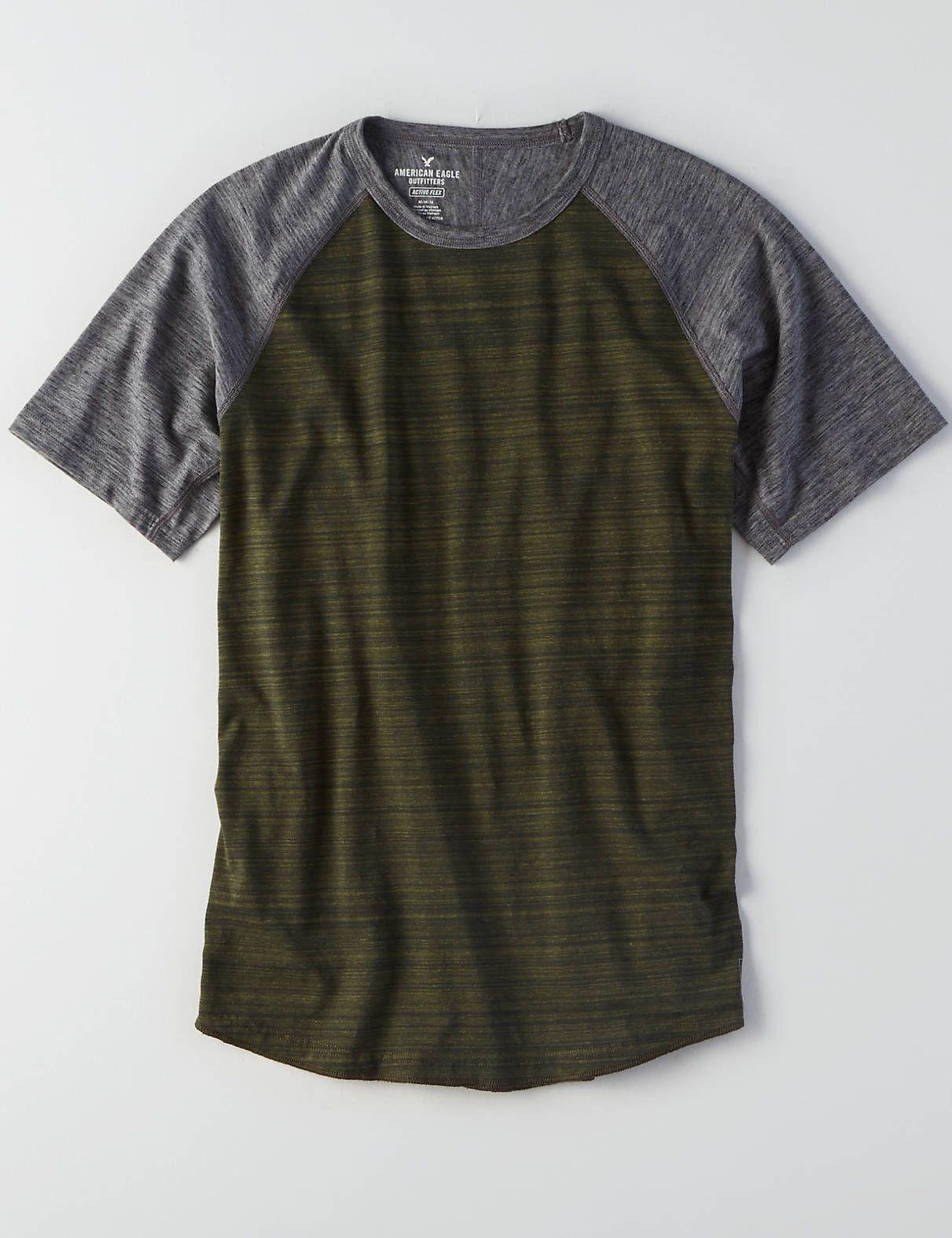 AEO Active Flex Raglan T-Shirt, Green Rush | American Eagle ...