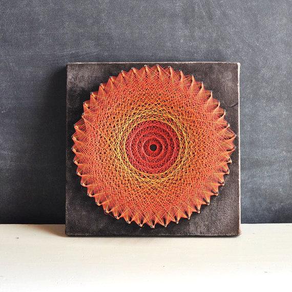 Jahrgang Handmase Rot Burst String Art Wandgestaltung Runde String Lochkreis