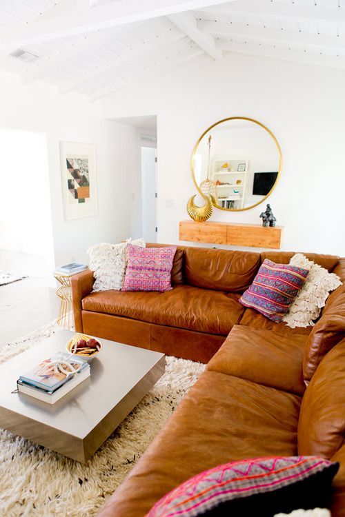 Cognac Leather Sectional Sofa Tan
