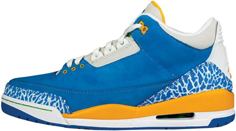 d46fa289c11f Air Jordan 3 Mens Fashion Basketball Sneakers Retro LS Do The Right Thing  Brisk Blue Radiant Green Pro Gold