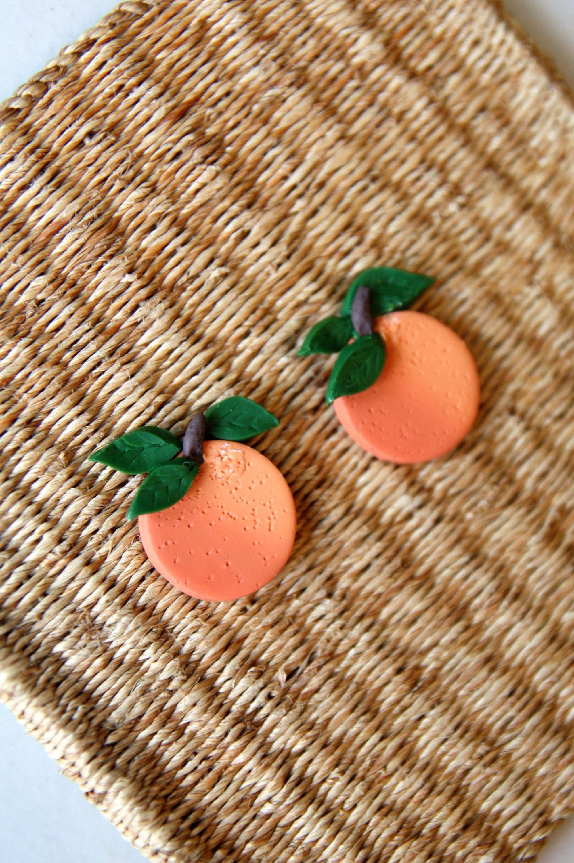 Handmade Earrings Lightweight Earrings Orange /& White Dot Clay Earrings Clay Earrings Statement Earrings Dangle Earrings