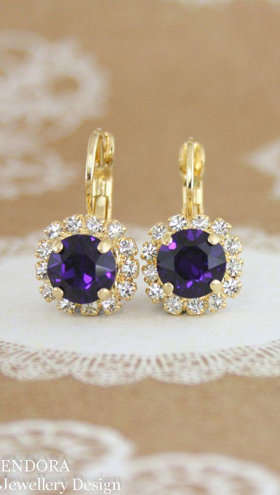 Purple Earringspurple Wedding Jewelrypurple By Endorajewellery