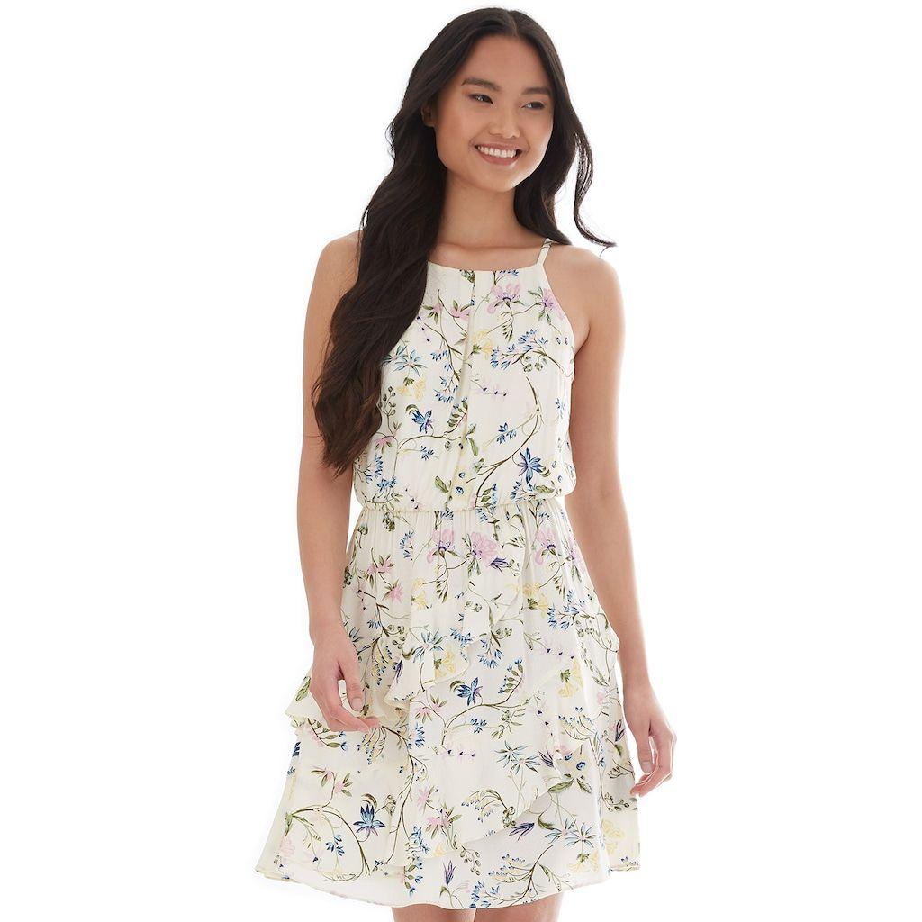 Juniors Iz Byer Floral Asymmetrical Ruffle Dress Dresses Ruffle Dress Fall Fashion Outfits [ 1024 x 1024 Pixel ]