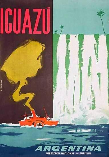 Otro poster de 1950 de la Dirección Nacional de Turismo, promocionando Iguazú.