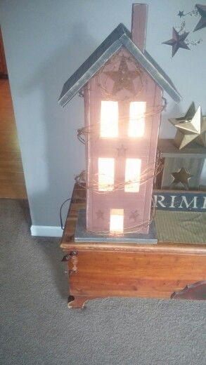 2 Ft Tall Salt Box House Made From Barn Wood Country Decor