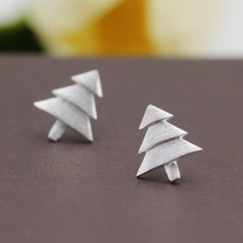 Brushed Sterling Silver Christmas Tree Stud Earrings Wholesale China