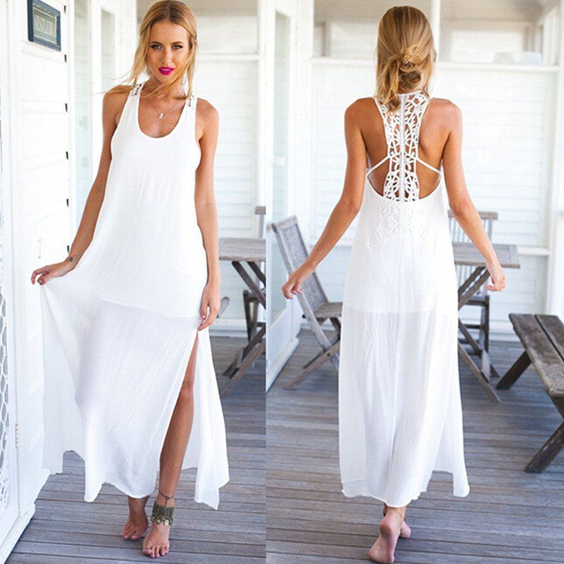 Casual White Solid Lace Maxi Long Dress - Fassion ME