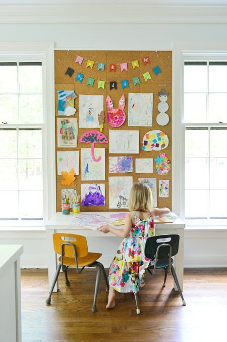 how to make a giant cork board wall for kid art kids inside rh pinterest com