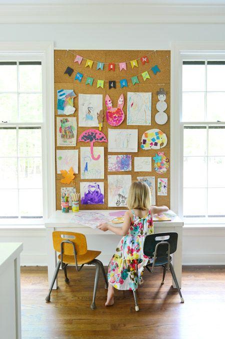 How To Make A Giant Cork Board Wall For Kid Art Diy Kids Art