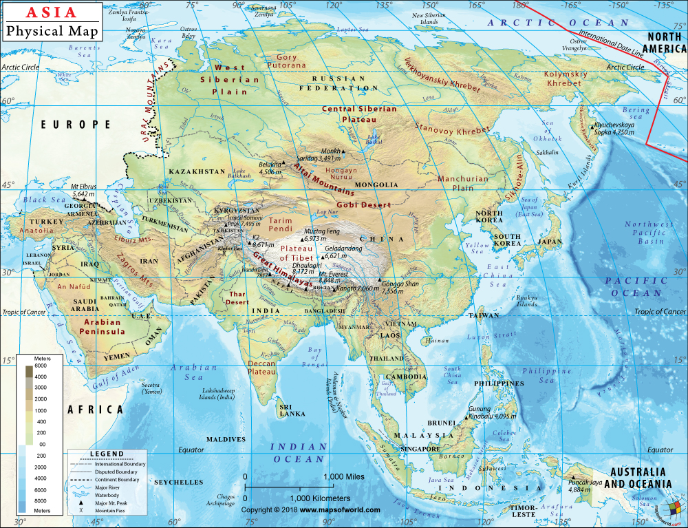 Asia Physical Map Physical Map Of Asia Asia Map Geography Map