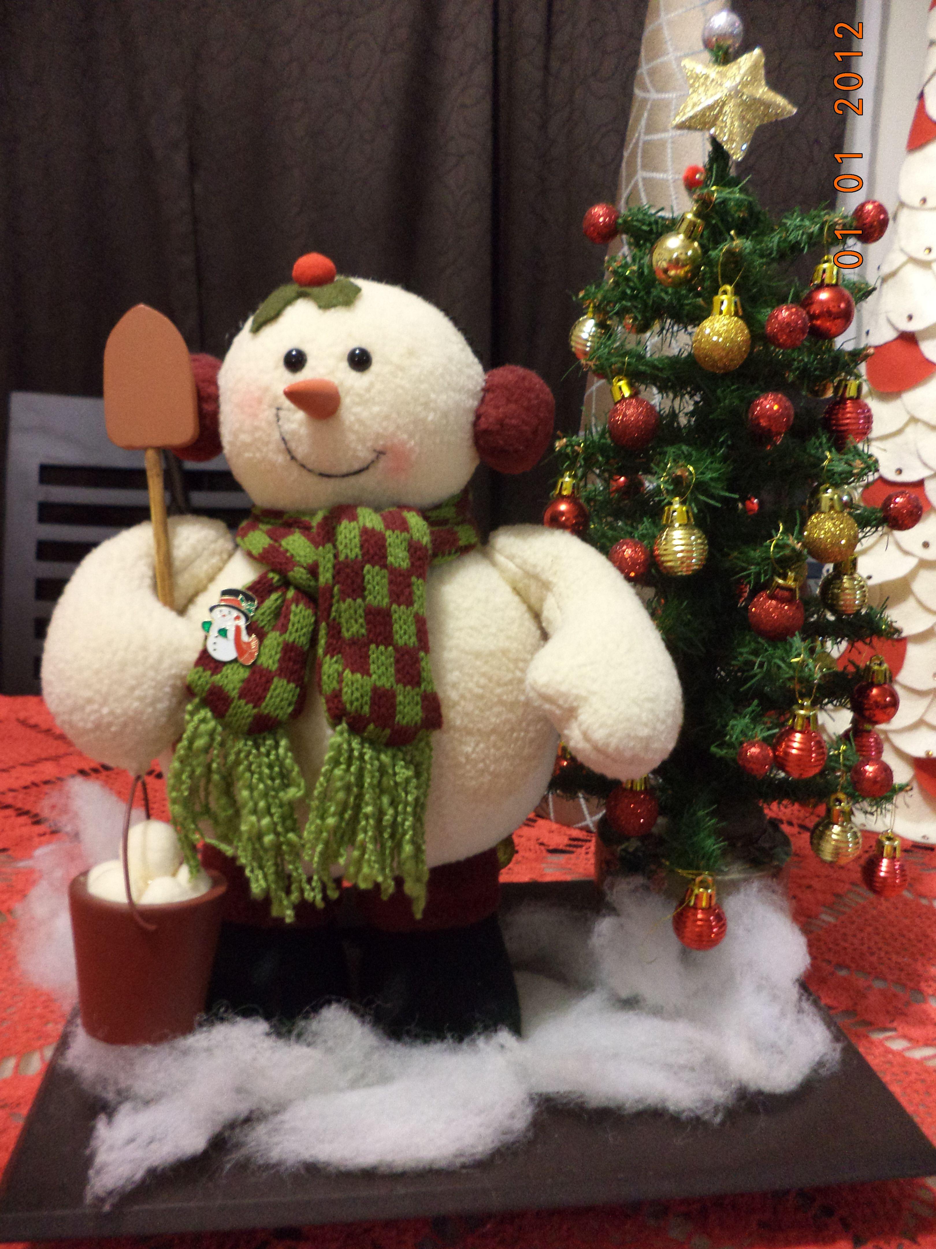 Hombre de nieve con rbol de navidad en miniatura para - Arbol navidad nieve ...