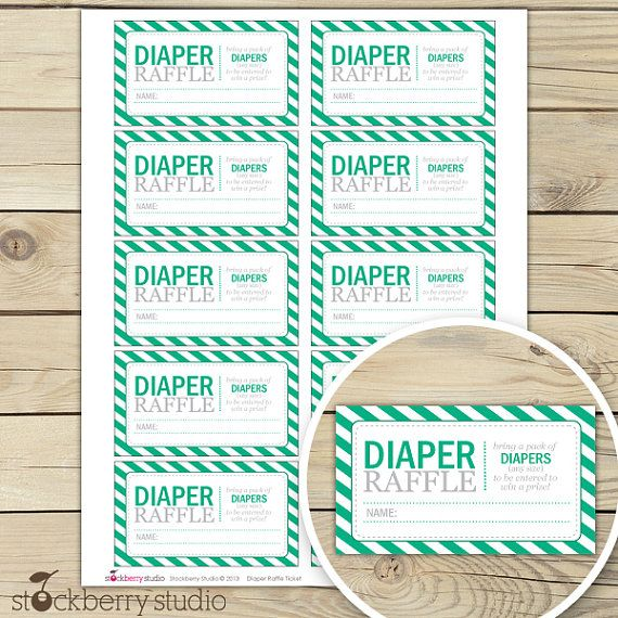 Free printable diaper raffle tickets for baby shower - Diaper - free printable tickets template
