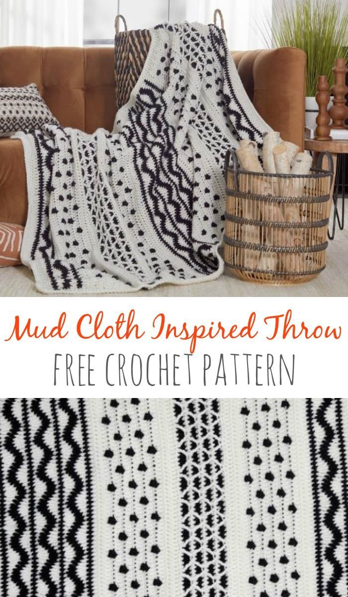 Mud Cloth Inspired Throw - create a beautiful blanket with the look of woven African Mud Cloth - but it's crochet! ♥️ Free pattern!  #mudcloth #crochetpattern #redheartyarns #withlove #freecrochet #africanbeauty