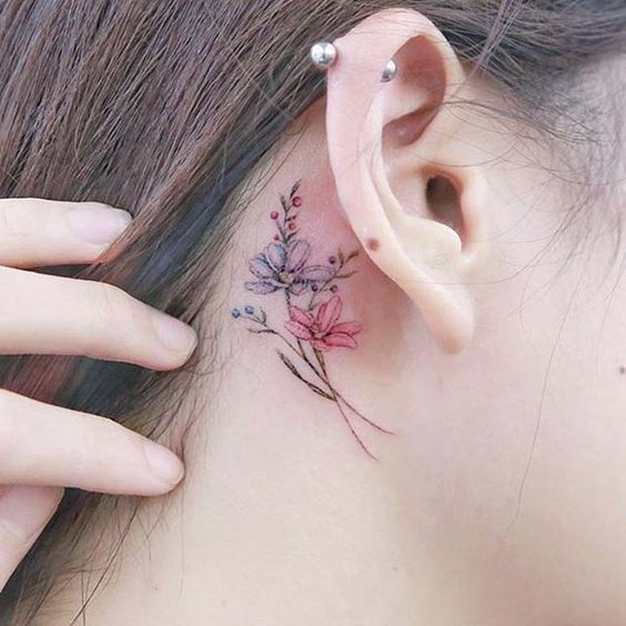 515f4f027 Delicate Behind the Ear Ink for Flower Tattoo Ideas for Women  #TattooIdeasWrist #BehindTheEarTattooIdeas